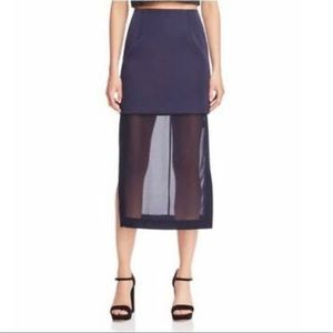 Keepsake navy blue tiered straight skirt semi